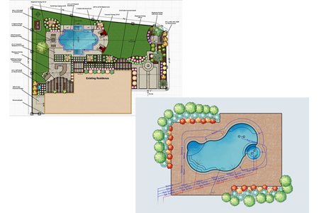 3D drawing of pool and large deck